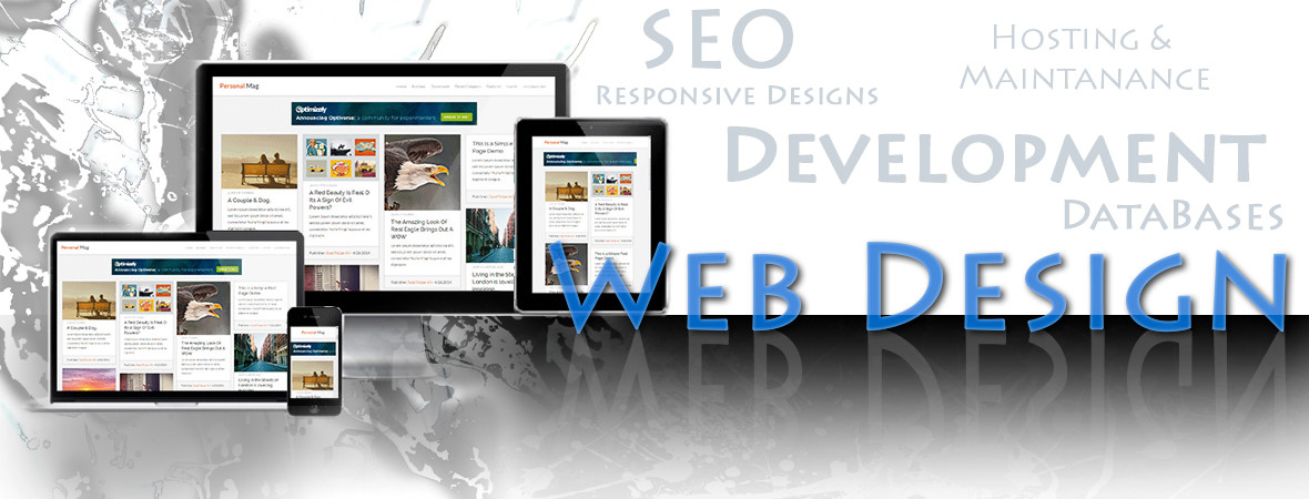 Web design, Development, Responsive, SEO, Hosting and Maintenance, and Databases.